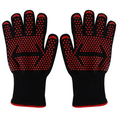 Pair of Heat-resistant Level 3 Protection Cut Resistance Safe Gloves Oven Mitts