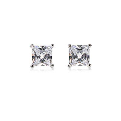 Square Rhinestone Zircon Platinum Plated Stud Earrings