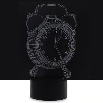 LED Colorful Alarm Clock Design USB 3D Night Light