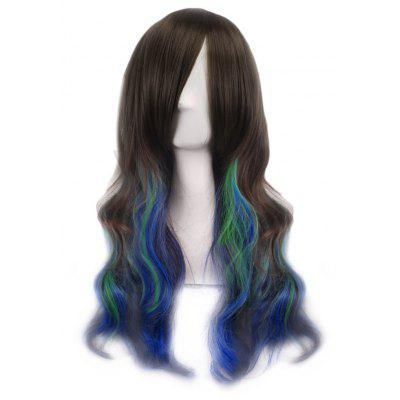 Buy BROWN + BLUE Lady Harajuku Ombre Gradient Multicolor Wavy Long Full Wigs for $11.29 in GearBest store