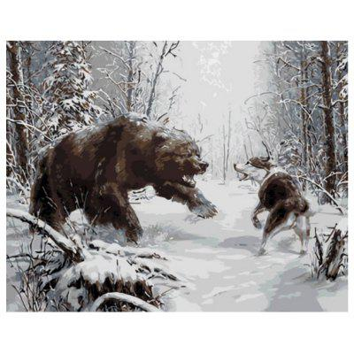Bear and Wolf DIY Digital Oil Painting Set Wall Home Decor