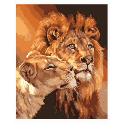Two Lions Digital Oil Hand Painting Wall Home Decoration