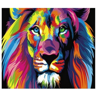 Chromatic Lion DIY Digital Oil Peinture à la main décoration murale