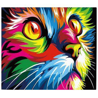 Colorful Cat Face Digital Oil Hand Painting Wall Home Decor