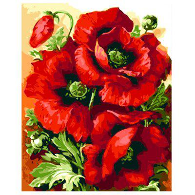 Red Flowers Digital Oil Hand Painting Wall Home Decor