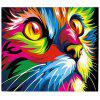 Colorful Cat Face Digital Oil Hand Painting Wall Home Decor - COLORMIX