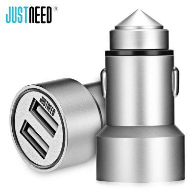 JUSTNEED Metal 5V 3.6A Dual USB Smart Car Charger LED Light