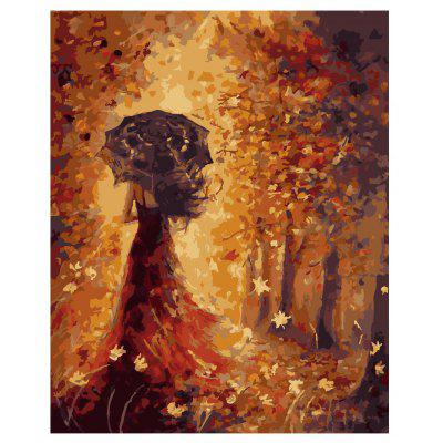Girl with Umbrella Digital Oil Peinture à la main Wall Home Decor
