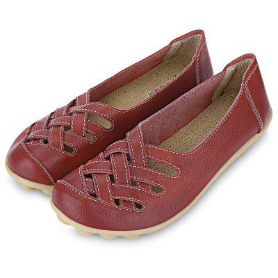 Women Hollow Genuine Leather Soft Soled Flat Shoes