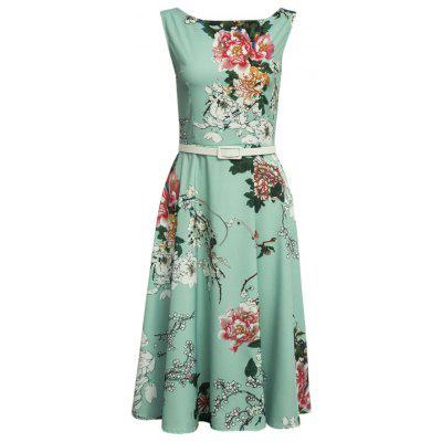 Vintage Slash Collar Floral Print A-Line Women Dress with Belt
