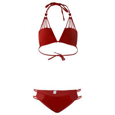 Sexy Solid Hand Knitting Bikini Two-piece Suits