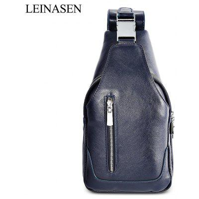 LEINASEN PU Leather Solid Color Chest Bag for Men