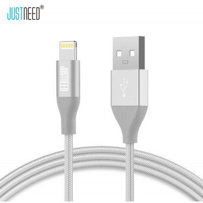JUSTNEED MFi Certification 8 Pin 2.4A Charging Data Transmission Sync Cable 1M