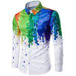 3D Inked Print Colorful Shirt - COLORMIX