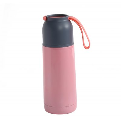 Portable Vacuum Insulated Cup Stainless Steel Travel Mug Water Bottle with Silicone Handle