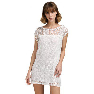 Buy WHITE 2XL Fresh Style Round Collar Sleeveless Pure Color Women Lace Dress for $5.83 in GearBest store