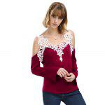 Sexy V-Neck Flare Sleeve Cut Out Lacework Deisgn Spliced Women T-Shirt - RED