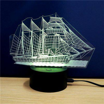 Colorful Sailboat Model 3D LED Table Lamp