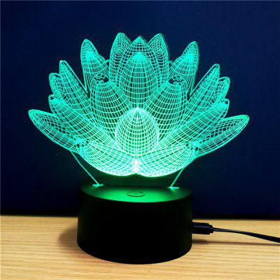 Colorful Lotus Model 3D LED Table Lamp
