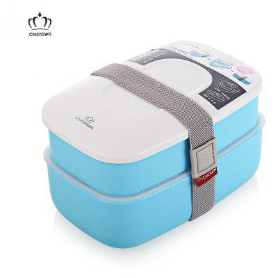 CNCROWN Bento Lunch Box 2 Layers Food Storage Container with Chopsticks and Spoon