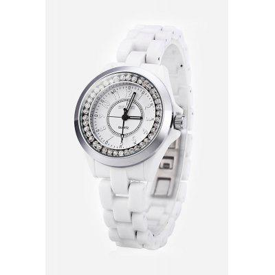 SKONE 7243 Female Rhinestone Embedded Quartz Watch with Ceramic Band