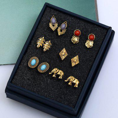 6 Pair of Old Classical Leaf Elephant Irregular Earring Studs