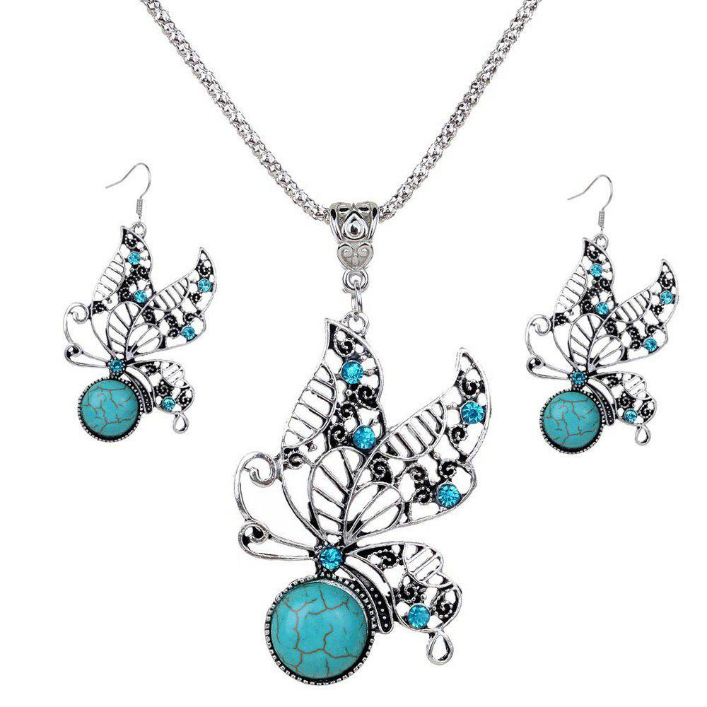 Old Classical Hollow Out Butterfly Blue Stone Mosaicked Earrings Necklace Jewelry Set for Women