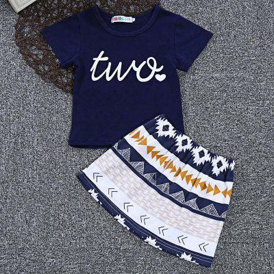 SOSOCOER Girls 2pcs Letter Two Print T-shirt Geometric Skirt