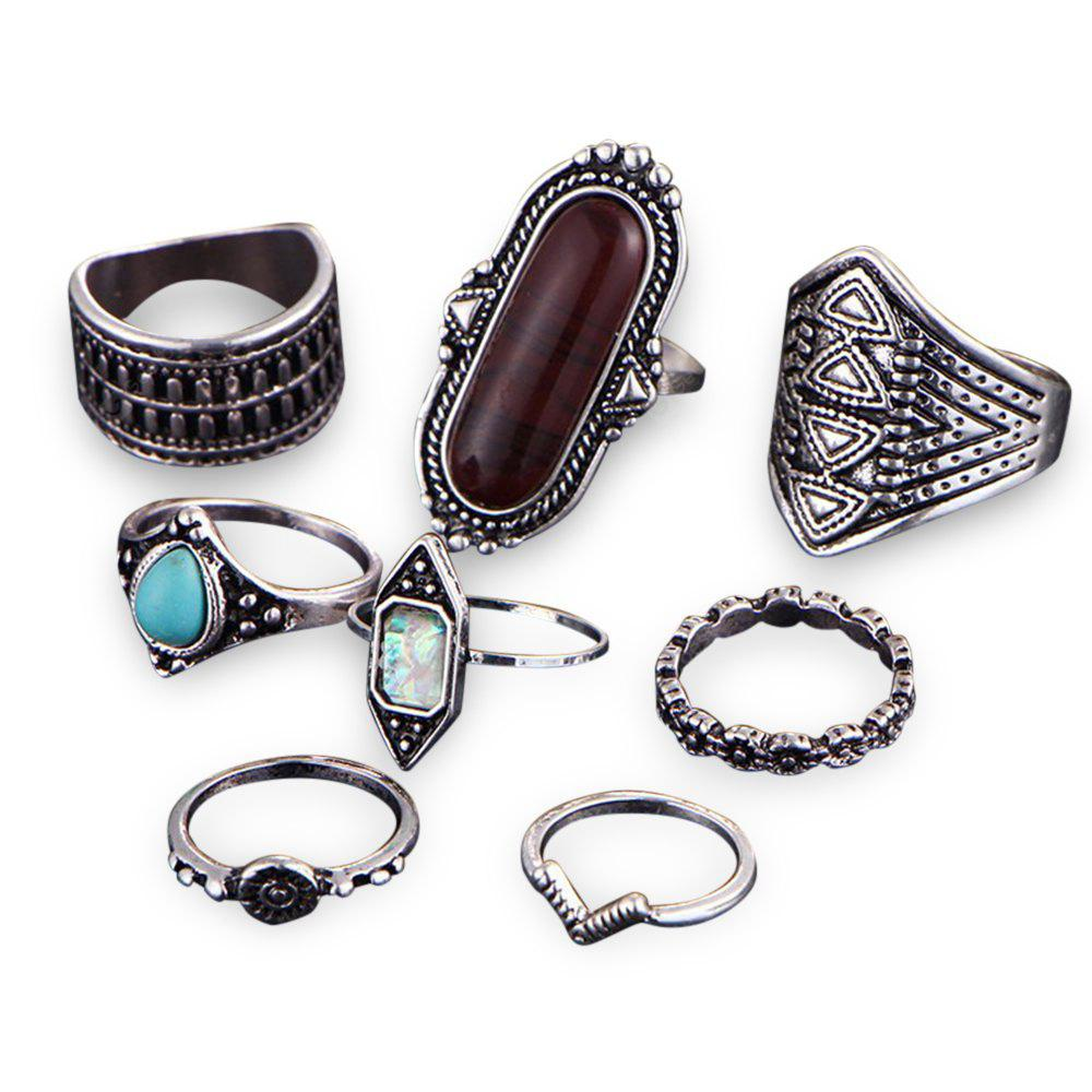 8pcs Stylish Silver Color Old Classical Ring for Women