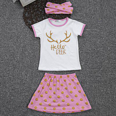 SOSOCOER 3pcs Girls Letter T-shirt Polka Dot Skirt HeadbandGirls clothing sets<br>SOSOCOER 3pcs Girls Letter T-shirt Polka Dot Skirt Headband<br><br>Dresses Length: Ankle-Length<br>Elasticity: Elastic<br>Embellishment: Pattern<br>Material: Cotton Blend<br>Neckline: Round Collar<br>Package Contents: 1 x T-shirt, 1 x Skirt, 1 x Headband<br>Pattern Type: Polka Dot<br>Season: Summer<br>Silhouette: Ball Gown<br>Sleeve Length: Short Sleeves<br>Style: Cute<br>Weight: 0.1550kg<br>With Belt: No