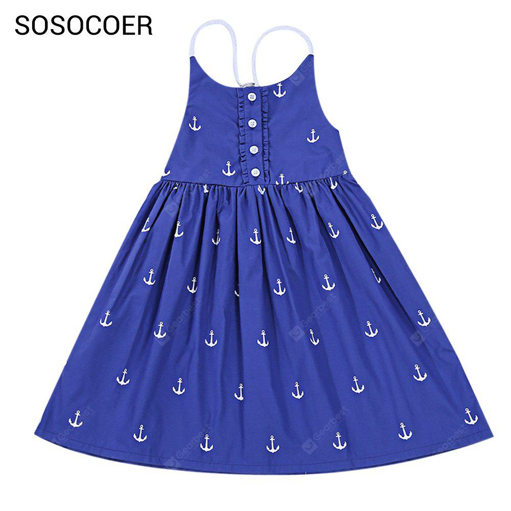 SOSOCOER Backless Anchor Print Beach Strap Dress for Girls