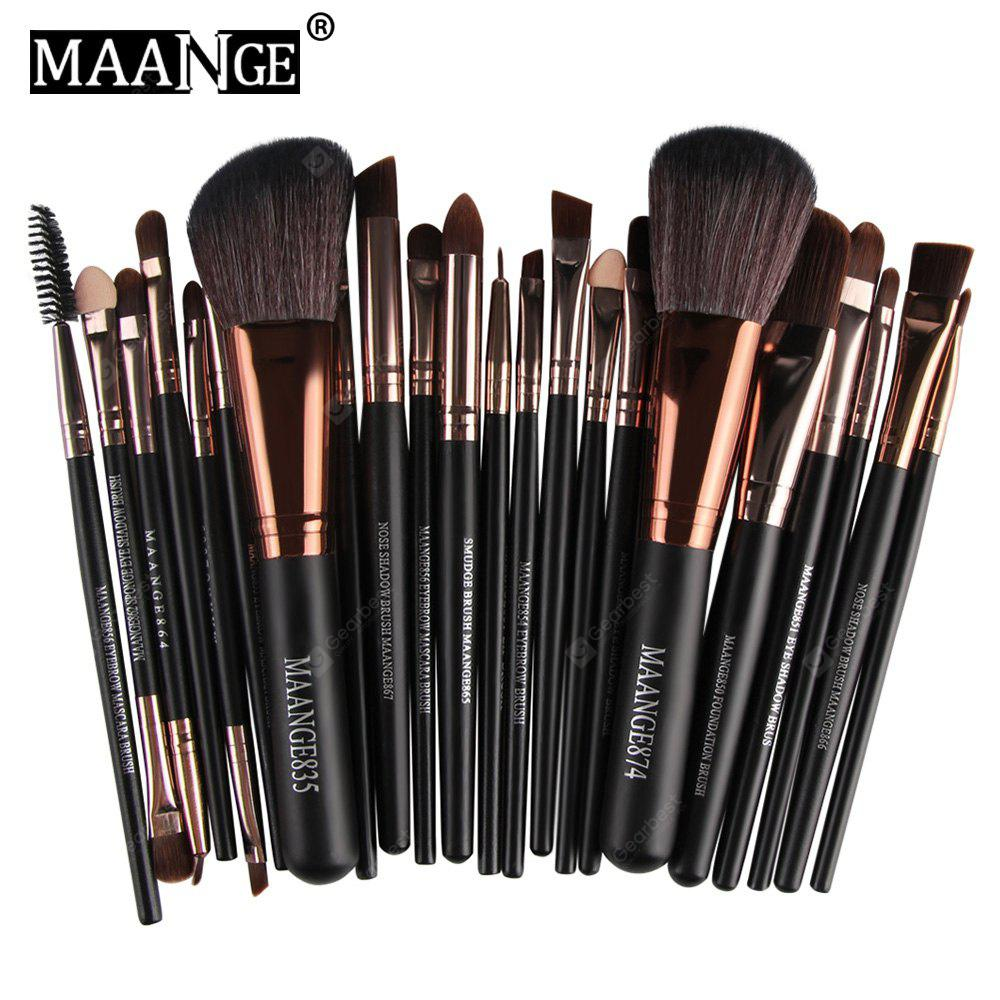 Gearbest MAANGE 22pcs Foundation Blush Eyebrow Lip Makeup Brushes - BLACK AND ROSE GOLD