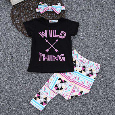 SOSOCOER Girls 3pcs Letter T-shirt Geometric Pants HeadbandGirls clothing sets<br>SOSOCOER Girls 3pcs Letter T-shirt Geometric Pants Headband<br><br>Collar: Round Neck<br>Elasticity: Elastic<br>Material: Cotton Blend<br>Package Contents: 1 x T-shirt, 1 x Pair of Pants, 1 x Headband<br>Pattern Type: Geometric<br>Shirt Length: Regular<br>Sleeve Length: Short<br>Style: Sweet<br>Weight: 0.1320kg