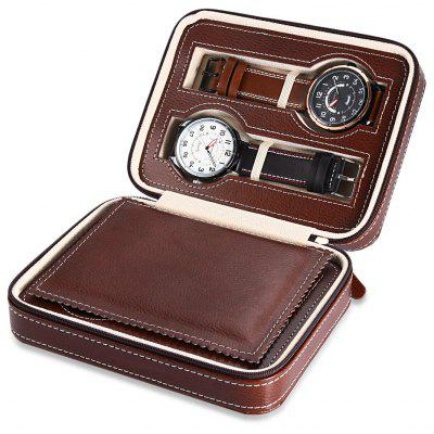 4 Grids PU Leather Travel Watch Case