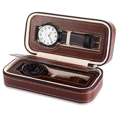 2 Grids PU Leather Travel Watch Case
