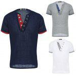 Casual Button Design Slim Fit Homens T-shirt de manga curta - BRANCO