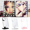 20 LEDs Portable Touch Screen Folding Toilet Lighted Makeup Mirror - BLACK