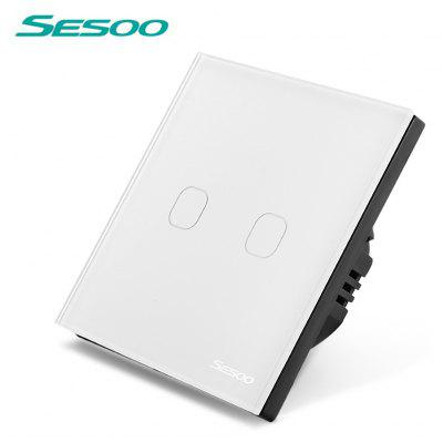 SESOO Smart Touch Screen Light Switch 2 Gang 1 Way