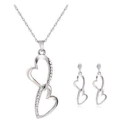 Electroplated Silver Heart to Heart Pattern Rhinestone Mosaicked Earrings Necklace Jewelry Set for Women