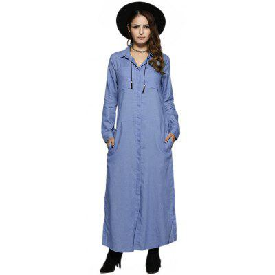 Women Turn Down Collar Denim Slit Dress