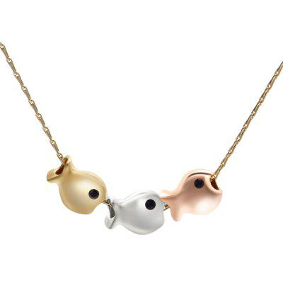 Cute Style Gold Color Chain Small Abreast Fishes Necklace for Women