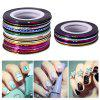 30 Color Manicure Jewelry Line Painted Radium Gummed Nail Stickers - COLORFUL