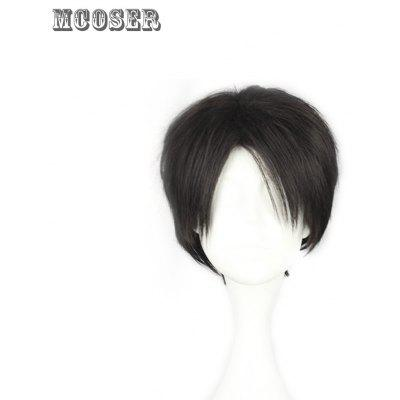 Mcoser Short Straight Middle Bang Anime Wig for Rivaille