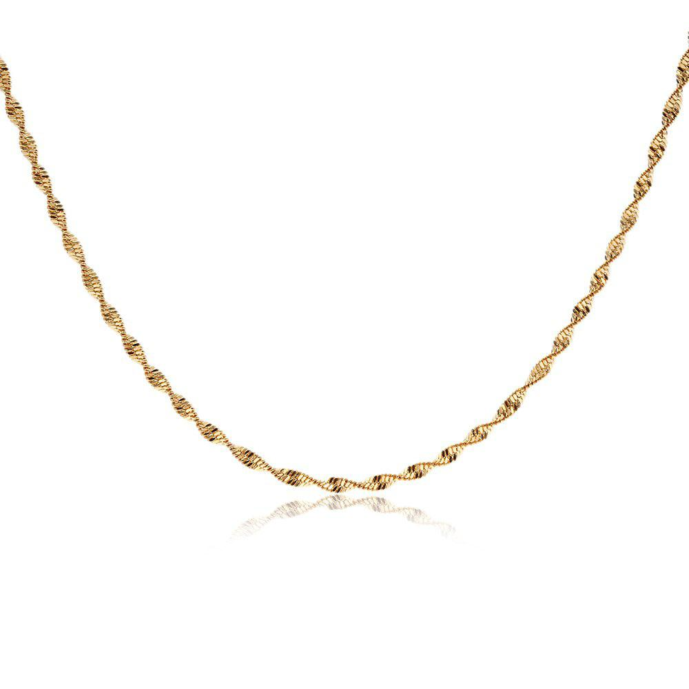 GOLDEN Stylish 24K Plated Gold Color Twisted Chain Women Necklace
