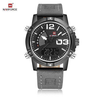 NAVIFORCE NF9095M Men Dual Movt WatchMens Watches<br>NAVIFORCE NF9095M Men Dual Movt Watch<br><br>Band Length: 8.54 inch<br>Band Material Type: Genuine Leather<br>Band Width: 22mm<br>Case material: Alloy<br>Case Shape: Round<br>Clasp type: Pin Buckle<br>Dial Diameter: 1.59 inch<br>Dial Display: Analog-Digital<br>Dial Window Material Type: Hardlex<br>Feature: Luminous, Led Display, Day, Date, Chronograph<br>Gender: Men<br>Movement: Digital,Quartz<br>Package Contents: 1 x Watch<br>Package Size(L x W x H): 27.50 x 5.80 x 2.50 cm / 10.83 x 2.28 x 0.98 inches<br>Package weight: 0.1140 kg<br>Product Size(L x W x H): 26.50 x 4.80 x 1.50 cm / 10.43 x 1.89 x 0.59 inches<br>Product weight: 0.0930 kg<br>Style: Business<br>Water Resistance Depth: 30m