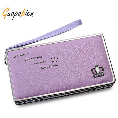 Guapabien Stylish Multifunction PU Leather Metal Frame Crown Clutch Wallet for Women