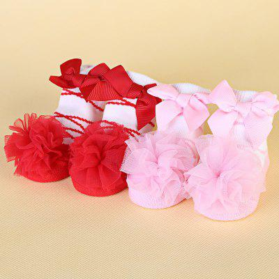 Sweet Gauze Ball Bowknot Knited Baby Girls Socks от GearBest.com INT