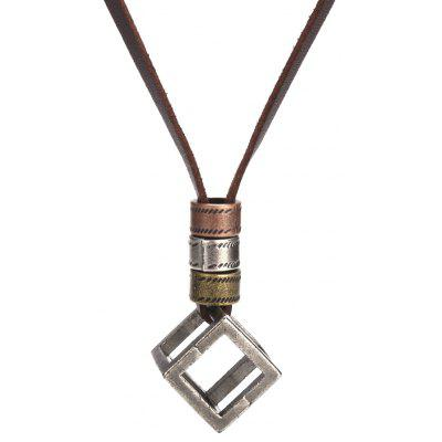 Buy BROWN Cube Pendant Unisex Leather Necklace Women Choker for $3.32 in GearBest store