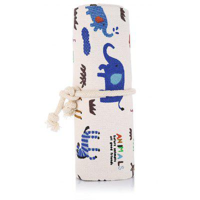 Zoo Drawing Canvas Pencil Wrap Roll Organizer Bag