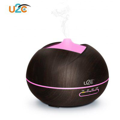 U2C 450ml Essential Oil Diffuser Wood Grain Humidifier with Colorful LED Light